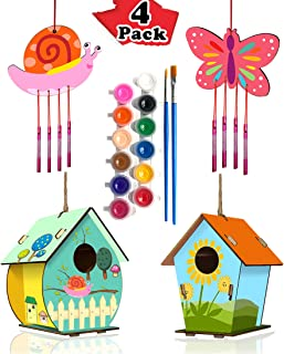 HOME COMPOSER 4 Pack DIY Bird House Wind Chime Kits for Children to Build and Paint, Wooden Arts and Crafts for Kids Girls...