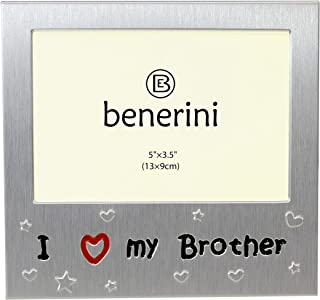 I Love My Brother - Photo Picture Frame Gift - Will take a photo of 5 x 3.5 Inches (13 x 9 cm) - Brushed Aluminium Satin Silver Color.