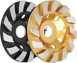 "SUNJOYCO 4"" Concrete Grinding Wheel, 2 PCS 12-Segment Heavy Duty Turbo Row Diamond Cup Grinding Wheel Angle Grinder Disc f..."