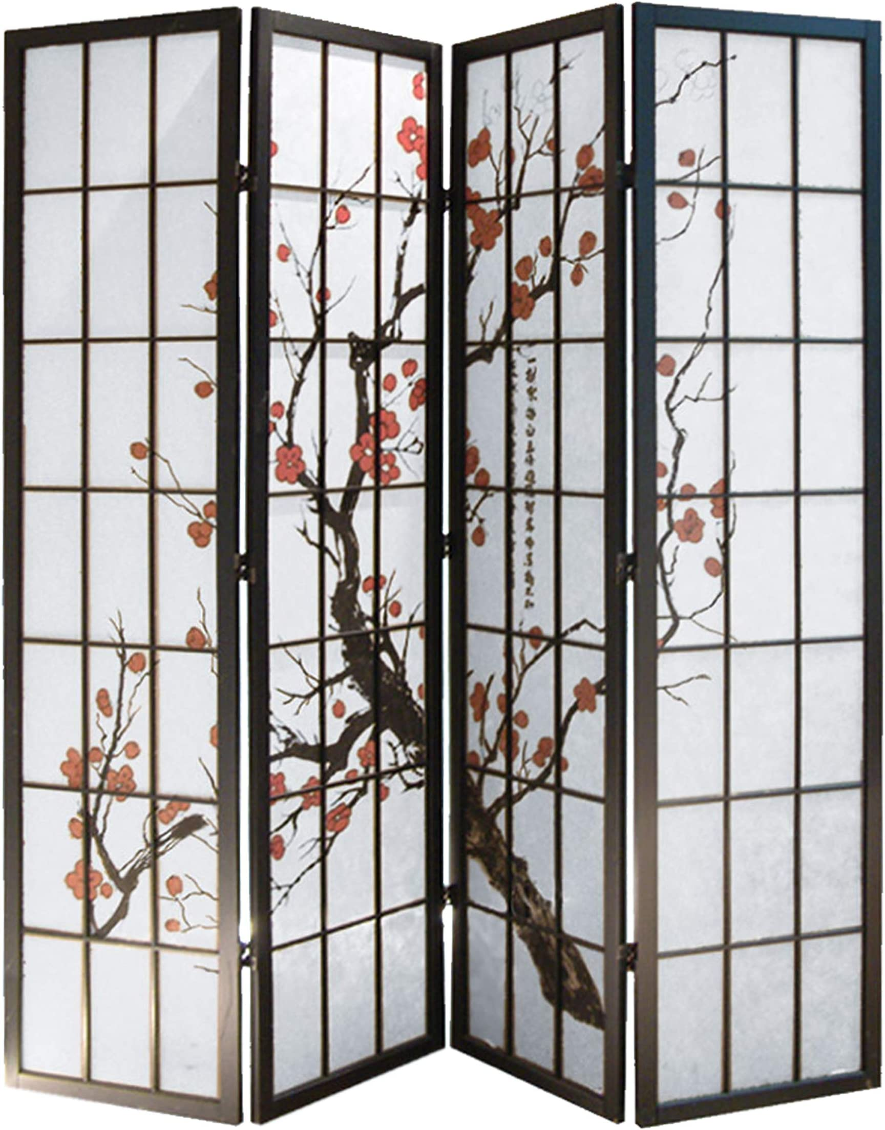 Screen Gems Shoji 4 Panel Screen SG-5428-4 Room Divider, 4panels, Black