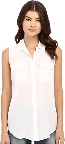 6f74c5a8dc639c Bright White. 35. EQUIPMENT. Sleeveless Slim Signature Top