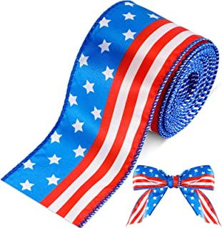 10 Yard Ribbon Stars and Stripes Wired Satin Ribbon Spool USA Flag Ribbon Patriotic Pattern Ribbon 4th of July Grosgrain R...
