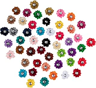Juvale 50-Pack Satin Fabric Craft Flowers with Rhinestone Embellishments for Wedding Floral Decor and DIY Projects, Assorted Colors, 1.5 Inches