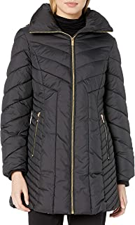 Anne Klein Women's Wing Collar Chevron Quilting Coat with Hood