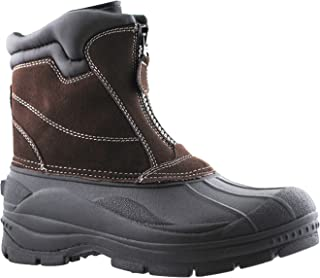 Mens Tornado Center Zip Leather Snow Boot