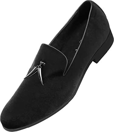 54378f32106d Amali Mens Slip On Velvet Smoking Slipper, Casual Nightclub Shoe with  Tassle, Rhinestone Band
