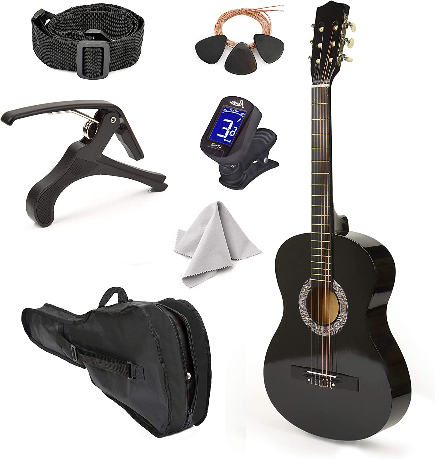Left Handed In Cash special price a popularity Wood Guitar with Case for and Boys Girls Accessories