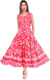 Jaipuri Style Women's Cotton Maxi Long Dress Jaipuri Printed Kurti (Red, Free Size Upto 42-XL)