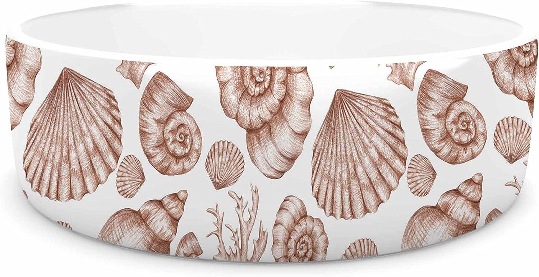 KESS InHouse Alisa Drukman Seashells  Brown Nature Pet Bowl, 7