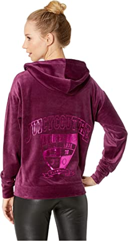 Velour Collegiate Luxe Hooded Pullover
