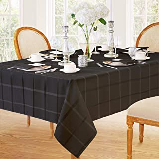Elegance Plaid Contemporary Woven Solid Decorative Tablecloth by Newbridge, Polyester, No Iron, Soil Resistant Holiday Tablecloth,  60 X 84 Oval - Black