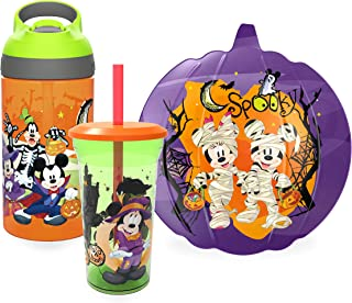 Zak Designs Disney Mickey Mouse & Minnie Mouse Halloween Dinnerware Set Includes Shaped Plate, 14oz Tumbler, & 16oz Water Bottle, Made of Durable Material (Mickey, Minnie, 3-Piece Set)