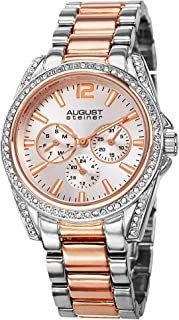 August Steiner Womens Quartz Watch, Analog Display and Stainless Steel Strap AS8075TTR