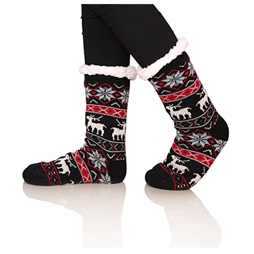 SDBING Womens Winter Super Soft Warm Cozy Fuzzy Snowflake Deer Fleece-lined Christmas Gift With