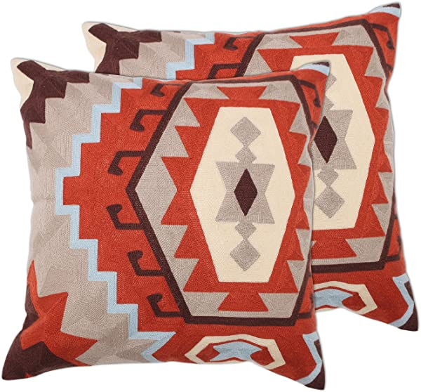 Zavaro Home Decorative Fully Embroidered Canvas Geometric Aztec Sofa Bed Patio Car Throw Pillow Set Of 2 18 X 18 Terracota Clay Rust Cover ONLY