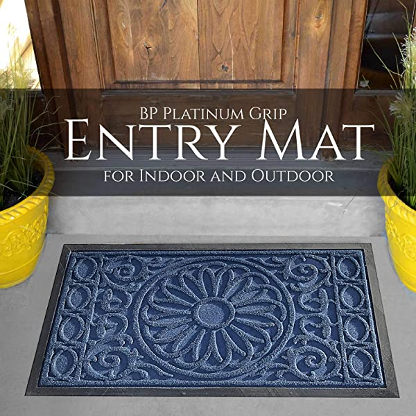 BP Platinum Grip Door Mat Indoor Outdoor Medallion Blue 18x30 Heavy Duty Doormat Waterproof Easy Clean No Slip Low Profile Mats For Entry Kitchen Garage Patio Businesses High Traffic Area
