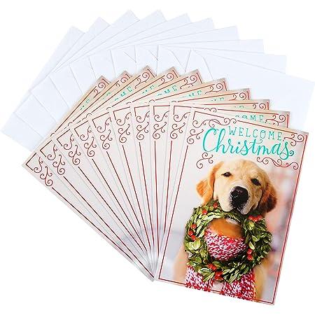Christmas Card Golden Retriever with Santa Hat Handmade Fabric Blank Greeting Card