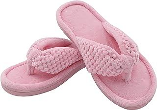 U Imprint Women's Cozy Memory Foam Plush Gridding Velvet Lining Spa Thong Flip Flops Clog Style House Indoor Slippers