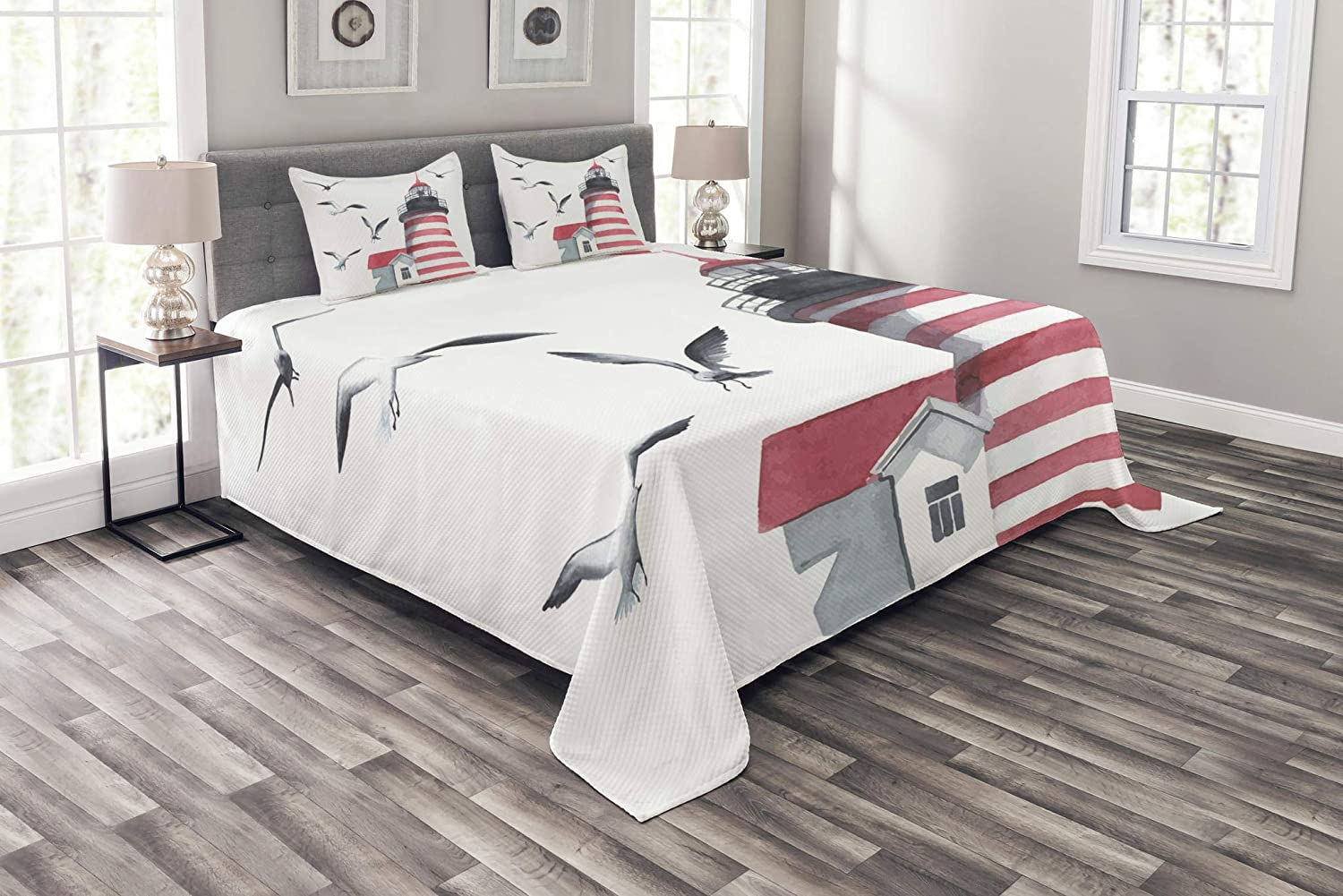 Ambesonne Latest item Lighthouse Bedspread and on 55% OFF The Seagulls B