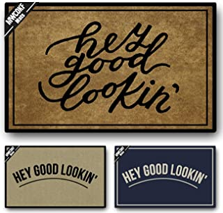 MWCOKF Funny Door Mat Non-Slip Back Rubber Entry Way Doormat Outside   Hey Good Lookin   Standard Outdoor Welcome Mat   Home Indoor   Non-Woven Fabric 23.6 inch by 15.7 inch