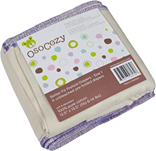 OsoCozy Unbleached Better Fit Prefold Cloth Diapers - Small Infant 4x8x4-6 pk (6-16 lbs)
