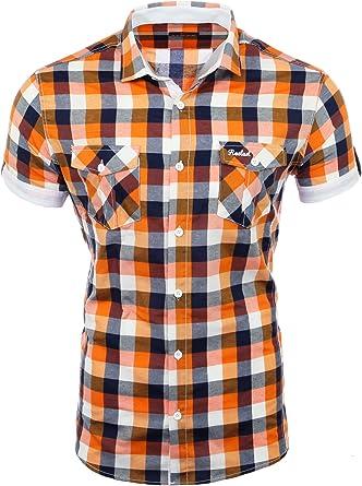 Reslad Hombre camisa de manga corta camisa de cuadros se ajusta a la figura tiempo libre camisa cuadros RS-7065