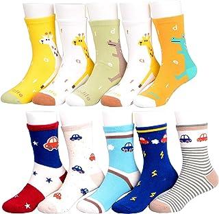 10 pares de calcetines de algodón con diseño de dinosaurios y estrellas, para niños de 1 a 11 años