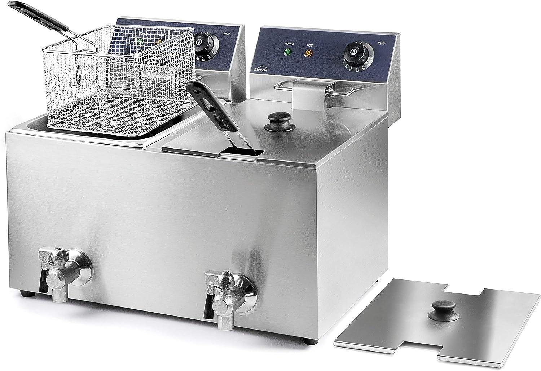 LACOR 69469 69468-Freidora eléctrica Doble con Grifo Profesional 3250 W (x2), 16 L, Acero Inoxidable
