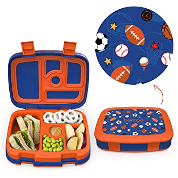 Bentgo Kids Prints Leak-Proof, 5-Compartment Bento-Style Kids Lunch Box - Ideal Portion Sizes for Ages 3 to 7 - BPA-Free and Food-Safe Materials - 2020 Collection - Sports
