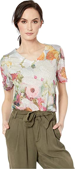 Printed Burnout Mixed Bouquet Print Top