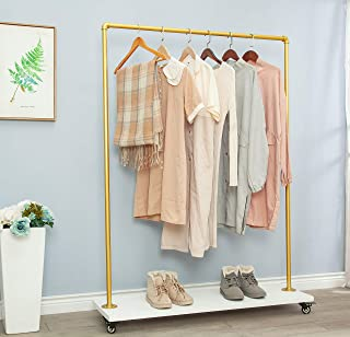 """FOF FRIEND OF FAMILY (63"""" Tall)(Gold Pipe White Planks) Industrial Pipe Clothing Rack Garment..."""