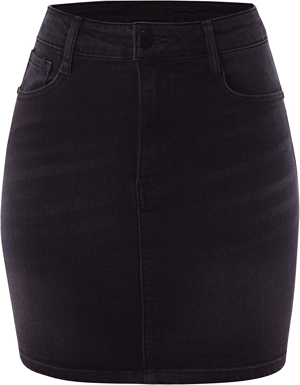 FashionMille Women's High Waist Short Mini Denim Jean Skirts