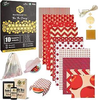 BeeNatural Inc. BeeNatural Bienenwachs Tücher für Lebensmittel, 6er Set | Natürliches Bienenwachspapier Wachstuch | KOSTENLOSE Mesh-Tasche aus Bio-Baumwolle | KOSTENLOSES eBook |