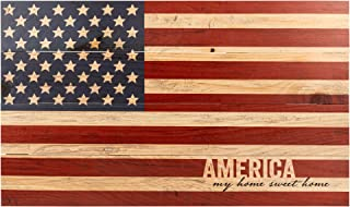 P. Graham Dunn America My Home Sweet American Flag Patriotic 14 x 24 Wood Pallet Wall Art Sign Plaque