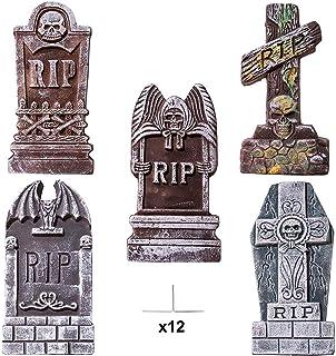 "JOYIN 17"" Halloween Foam RIP Graveyard Tombstones (5 Pack), Headstone Decorations and 12 Bonus Metal Stakes for Halloween ..."