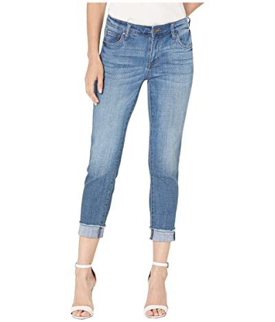KUT from the Kloth Amy Crop Straight Leg Roll Up Fray Jeans in Adaptable w/ Medium Base Wash (Adaptable w/ Medium Base Wash) Women