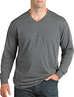 Harbor Bay by DXL Big and Tall Wicking Jersey Long-Sleeve V-Neck Tee