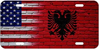 SSLife Flag of Albania (Albanian) - Waves/USA License Plate Metal Aluminum Vanity Auto Car Tag Vanity Gift for Decoration 6x12 Inchs