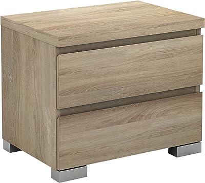 Alpine Bay Elara 2 Drawer Bedside Table, Light Sonoma Oak