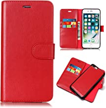 iPhone 8 Plus Case, iPhone 7 Plus Case, UZER 2in1 Detachable Magnetic Back Cover Premium Leather Folio Flip Kickstand Removable Wallet Case with Card Slot Cash Holder Pocket for iPhone 7/8 Plus, Red