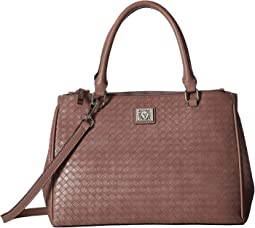 Weave Double Top Zip Satchel