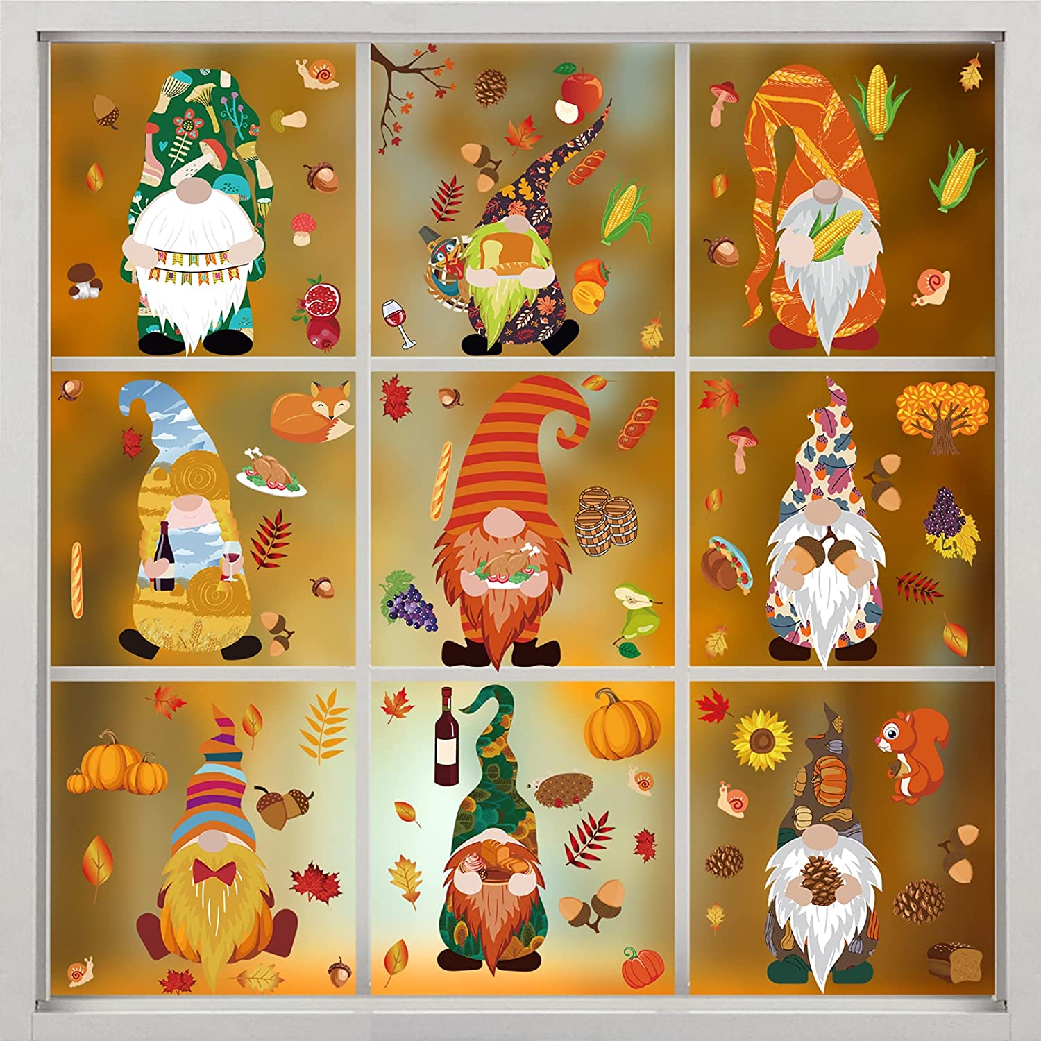 9 Sheets Fall Max 85% OFF Dedication Gnome Window Clings Glass for Leaves Turkey Maple