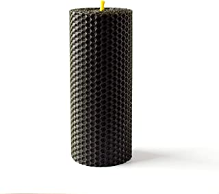 """Black Beeswax Pillar Candle - 6"""" Hand-Rolled Pure Bees Wax Candles - Handmade Unscented Candles With Cotton Wick - for Rel..."""