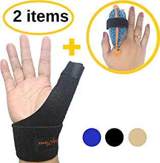 BodyMoves New Thumb Splint Brace Plus Finger Hot and Cold Gel Pack- Tenosynovitis,  Tendonitis,  Trigger Thumb Spica, Carpal Tunnel,  CMC Adjustable Wrist and Reversible Left Right Hand (Midnight Black)