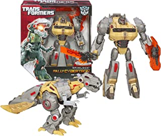 Hasbro Year 2012 Transformers Generations Fall of Cybertron Series 01 Voyager Class 7 Inch Tall Robot Action Figure Set #003 - Autobot GRIMLOCK with Glowing Eyes and Mouth, Chomping Jaw, Sword and Shield (Beast Mode: Tyrannosaurus Rex)