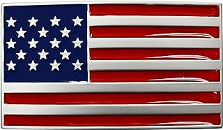 "FL104 USA Men`s Red/Blue Enamel Nickel American Flag Plaque Buckle fits 1.5"" belt"