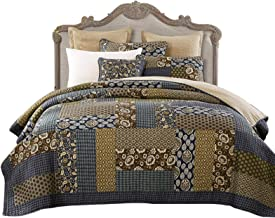 3 Piece Cotton Quilted Bedspread Throw, Washed Printing Plaid Patchwork Air Conditioning Blanket for Bedroom Decor Reversi...