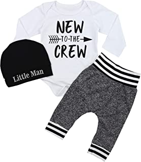 Newborn Baby Boy Clothes New to The Crew Letter Print Romper+Long Pants+Hat 3PCS Outfits Se