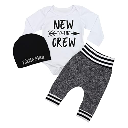 3b719d163d2a Newborn Baby Boy Clothes New to The Crew Letter Print Romper+Long Pants+Hat