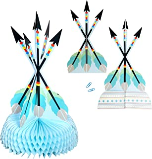 "Havercamp Adventure Begins Blue Arrow Table Centerpiece – Happy Birthday, Baby Shower Centerpiece with Large 16"" Adventure Arrows for Birthdays, Gender Reveals, Baby Showers & Birthday Party Supplies"